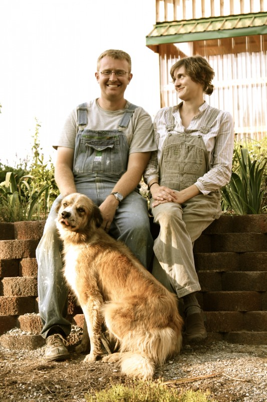 Jonas and Julie Hurley in their awesome farm apparel!